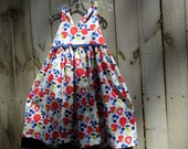 Special listing for Amy Hultgren Strawberries, Blueberries and Rickrack Sun Dress  Sizes 5 and 7