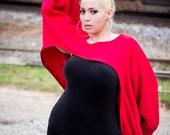 Oversize Red Sweatshirt Shrug - One Size
