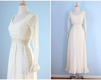 1960s crochet lace maxi dress / 60s crochet lace wedding dress  /