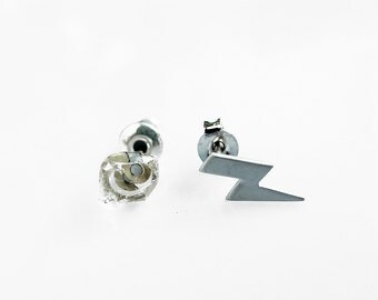 Mismatched Stud Earrings, Bolt Studs, Tiny Herkimer Earrings, Crystal Studs