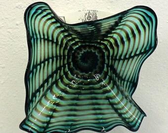 Beautiful Hand Blown Glass Art Wall Platter Bowl 6878 ONEIL