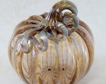 Hand Blown Glass Art Sculpture TEA Pumpkin Oneil 6329