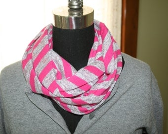 Fuschia Pink Gray  Rugby Stripe Jersey Infinity Scarf - Fabric- Athletic Scarf - Circle - Cowl - Fashion Scarf - Teen Girl Woman