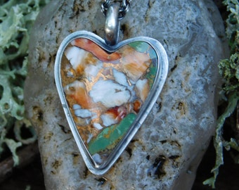 Heart Shaped Orange Spiney Oyster Green Kingman Turquoise Bronze and Sterling Silver Necklace