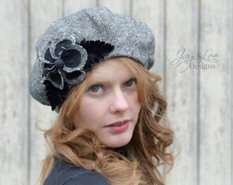 French Beret Hat in Black and Gray Tweed