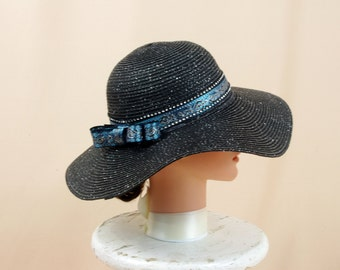 Black Straw Hat * Black and Blue Hat * Black Floppy Hat * Wide Brim Hat * Sun Hat * Summer Hat * Boho Hat * Fashion Hat
