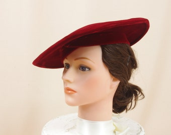 Red Saucer Hat * Red Velvet Hat * Vintage 50s Hat * Sunnyland Hats * Kentucky Derby Hat * Red Hat * Red Derby Hat * Church Hat