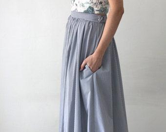 Striped skirt / Gray midi skirt / cotton skirt / summer skirt / Grey skirt / retro skirt / High waist skirt / A line skirt