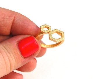 Hexagon Ring // 3d printed steel brass silver ring // gold-plated // all sizes available // Geometric Ring