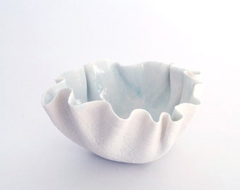 RUFFLED porcelain bowl, tea light holder, votive candleholder white linen texture with ceramic celadon blue glaze