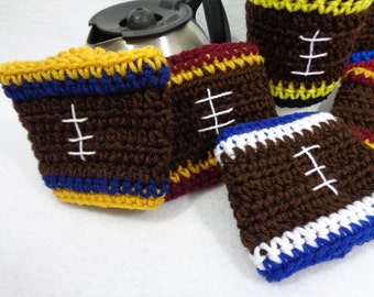 Football Coffee Cup Cozy ~ Crochet Coffee Cup Sleeve with Football Lines, You Pick Your Team Colors, Stocking Stuffer, Gift for Men Can Cozy