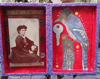Mixed media assemblage, found object art, vintage ephemera, shadow box