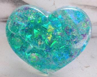 Aqua Mint Opalescent Confetti Stars Resin Heart Ring, Seapunk Blue-Green Faux Opal Resin Heart Ring, Seafoam Mermaid at Heart Resin Ring