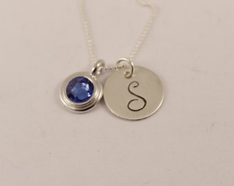 Initial Necklace with birthstone charm - Hand stamped - Sterling Silver