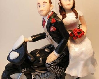 Bespoke Handmade Personalized Wedding Cake Toppers with Motorcycle