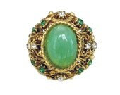 Florenza Ring, French Baroque, Rhinestone Ring, Green Glass, Gold Tone, Cocktail Ring, Statement Ring, Vintage Ring, Size 8.5 Adjustable
