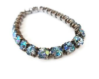 Blue Rhinestone Bracelet, Aurora Borealis, Silver Tone, Vintage Bracelet, Vintage Jewelry, Weiss Kramer Style, Unsigned Designer