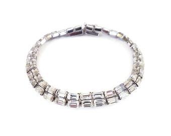 Schoffel and Co, Rhinestone Bracelet, Austria,  Silver Rhodium, Crown Symbol, Wedding Bridal, Vintage Jewelry