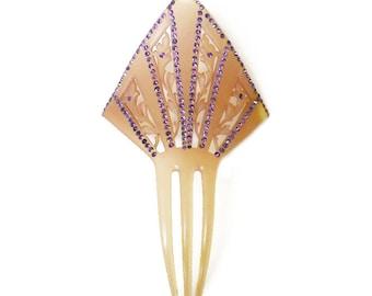 Art Deco Celluloid Rhinestone Hair Comb - Pink Purple Rhinestone, Decorative Comb, Antique Comb, Chignon, Hair Accessory
