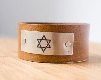 Star of David Leather Snap Cuff with Engraved Metal Plate