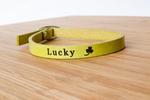 Lucky Custom Skinny Adjustable Leather Bracelet I Love You
