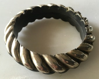 Bone and Silver Bangle Bracelet From India