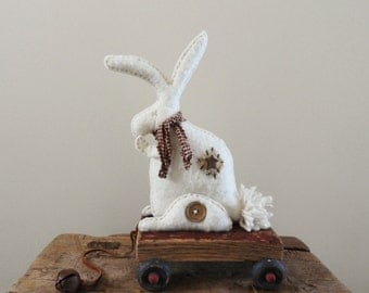 RABBIT Pull Toy - Folk Art Bunny - White Hare Toy Reproduction - Baby Nursery Decor - Soft Sculpture - Art Doll - Woodland Animal - EMMA