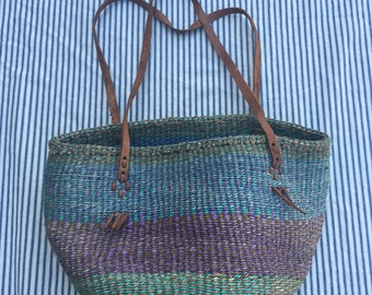 70s Market Bag / Sunset Hues Woven Handbag / Leather Strap Ombre Purse / Bucket Handbag / Long strap Bag