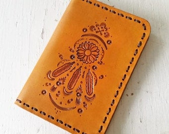Leather Passport Cover - Sunflower Dreamcatcher - Southwestern Inspired Passport Wallet - Made to Order with Your Choice of Colors