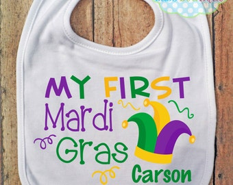 My First Mardi Gras Boy or Girl BIB - Baby - Mardi Gras Bib - Personalized - Jester Hat