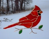Cardinal - Stained Glass Bird Suncatcher - Large 02116