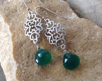 SALE!!! 50% OFF - Green Onyx Sterling Silver Earrings