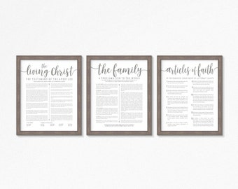 LDS-Family Proclamation-Living Christ & Articles of Faith set-Multiple Sizes Choices-Digital Files-LDS poster printables-LDS-Grey Text