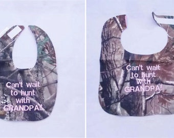 Can't Wait to Hunt With GRANDPA - Large OR Small Baby Bib - FREE Shipping to U.S.