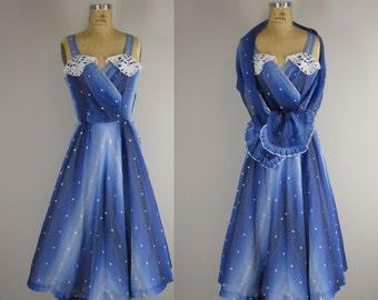 vintage 1940s sundress / 40s ombre sundress with shawl / Starry, Starry Night dress