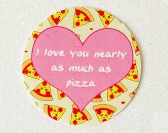 Pizza Paper Sticker, round food sticker, cute stationery, planner supplies, love pizza sticker, fun sticker, pizza illustration sticker