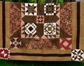 """Queen or Double Sampler quilt in earthy tones 86"""" X 87"""""""