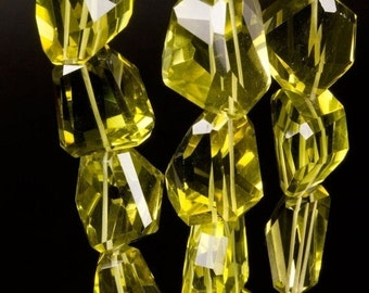 "ON SALE Olive Quartz Nuggets - Step Faceted - Oro Verde - AAA - Large Nuggets - 12 x 13mm to 22 x 18mm   4"" Strand"