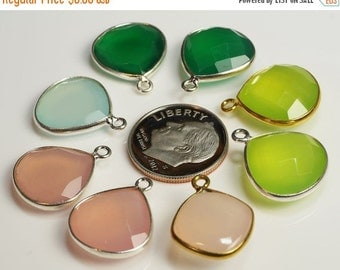 ON SALE Silver Pendant Vermeil Pendant Faceted Rose Lime Aqua Chalcedony Green Onyx Earth Mined Gemstones  17 x 14mm - One Pendant
