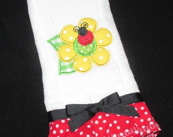 Lady Bug with a Beauitful Sunflower Burp Cloth, Drool Cloth, Wipe, Bib, Baby Cloth, Face Wipe, Baby Burp Cloth