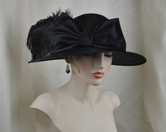 1920s Ladies Black Straw Hat with Ostrich Feathers, Garden Party Hat, Silk Satin Bow, Tea Hat, Flapper