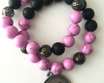 Black, pink and gunmetal beaded, initial, stackable bracelets