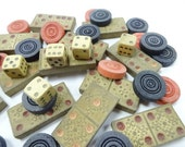 Old Vintage Wood Game Piece Destash Dominoes Checkers Dice All Wooden Toys Embellishments Set Lot Collection