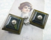 Vintage Bakelite Plastic Coat Cape Cloak Fur Button Clasp Set Art Deco Fashion Embellishment Decoration Shades of Green