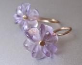 Carved Amethyst Flowers Solid 14k Gold Earrings