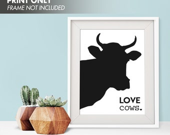 LOVE COWS - Art Print (Featured in Black) Love Animals Art Print and Poster Collection