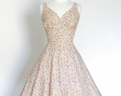 Mustard and Pink Ditsy Floral Cotton Sweetheart Tea Dress with Flared Skirt