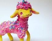 Ooak Spun Cotton, Kawaii, Kitsch, Pink, Cupcake, Birthday, Lamb, Art Doll, Art Figure, Spring Decor