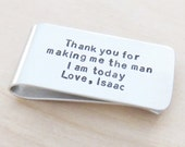 Fathers Day gift for father of the groom - Wedding gift for father of the groom - Signed gift from groom to dad money clip