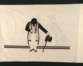 Vtg Pillowcase - Art Deco Penguins in Tuxedos - JP Stevens